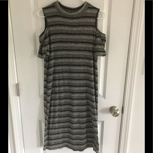 Cold shoulder thermal material dress